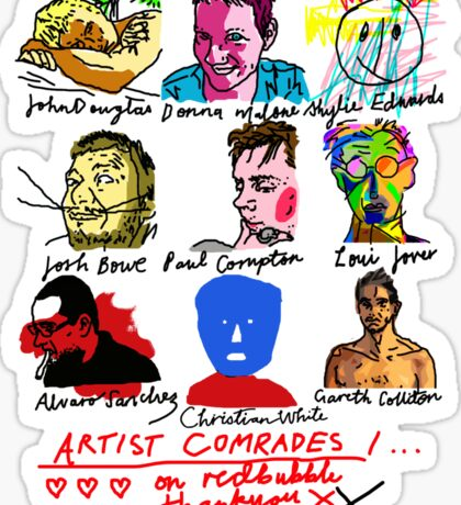 Artist Comrades I... Love Love Love on Red Bubble Sticker