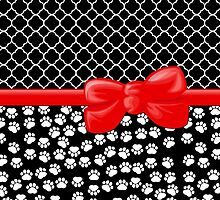 Ribbon, Bow, Dog Paws, Quatrefoil - White Black Red by sitnica