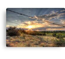 Barbed Wire Sunset Canvas Print