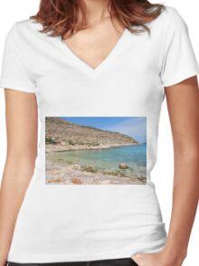 Kania beach, Halki Women's Fitted V-Neck T-Shirt