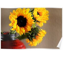 Shiny Sunflowers Poster