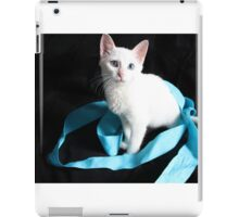 White Kitten with Blue Ribbon iPad Case/Skin