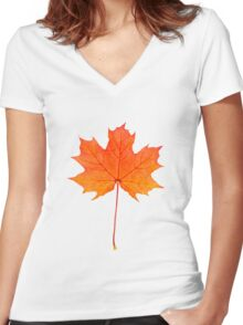 Red maple leaf Women's Fitted V-Neck T-Shirt