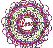Zentangle Mandala Love Red & Green by cehouston