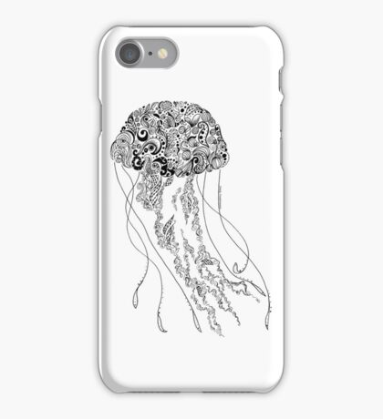 Zentangle Fine liner Jellyfish iPhone Case/Skin