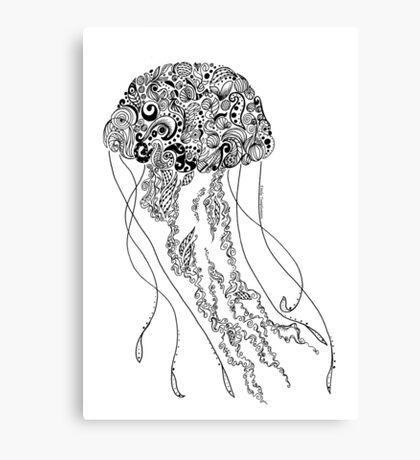 Zentangle Fine liner Jellyfish Canvas Print