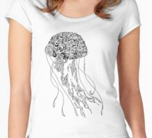 Zentangle Fine liner Jellyfish Women's Fitted Scoop T-Shirt