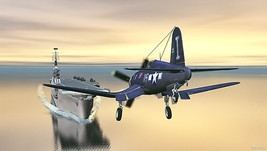 F4U Corsair on Final. by Walter Colvin