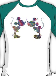 Mickey and Minnie Mouse Love Kiss Watercolor T-Shirt
