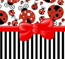Ribbon, Bow, Ladybugs, Stripes - Red Black by sitnica