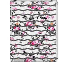 Vintage chic pink gray white floral chevron  iPad Case/Skin