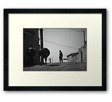 Cows & shepherd Framed Print