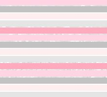 Vintage pink white fuax glitter stripes pattern  by Maria Fernandes