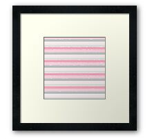 Vintage pink white fuax glitter stripes pattern  Framed Print