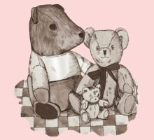 Three cute teddy bears still life art  Kids Tee