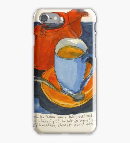 Tea in a blue cup iPhone Case/Skin