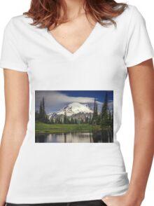 Mt Rainier in Washington Women's Fitted V-Neck T-Shirt