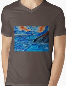 Blue Island Volcanoes Mens V-Neck T-Shirt