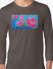 MAGNOLIA. Nature. Flower. Original SILK painting Long Sleeve T-Shirt
