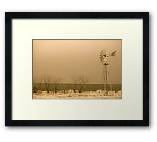 Kansas Windmill in Sepia Framed Print