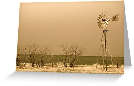 Kansas Windmill in Sepia by Suz Garten