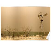 Kansas Windmill in Sepia Poster