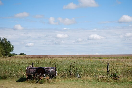Abandoned Trailer in Kansas Country Field by Suz Garten