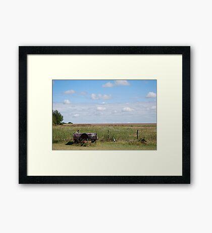 Abandoned Trailer in Kansas Country Field Framed Print