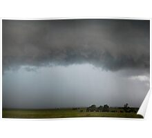 Stormy Kansas Sky with Cows Poster