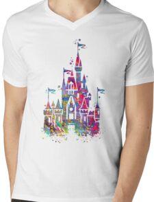 Princess Castle Watercolor Mens V-Neck T-Shirt