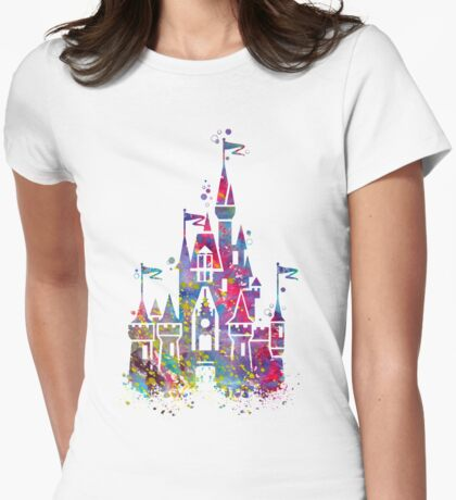 Princess Castle Watercolor Womens Fitted T-Shirt
