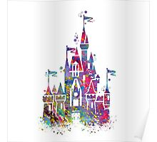 Princess Castle Watercolor Poster