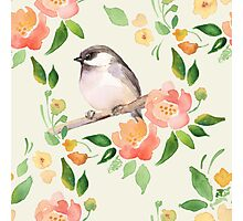 Watercolor floral background with a cut bird. Seamless pattern  Photographic Print