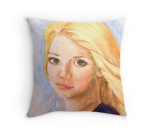 Portrait of a Blonde girl Throw Pillow