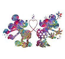 Mickey Minnie Mouse Love Dance Watercolor by bittermoon