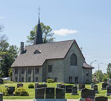 Small town church with cemetery by Josef Pittner