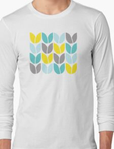 Tulip Knit (Aqua Gray Yellow) Long Sleeve T-Shirt