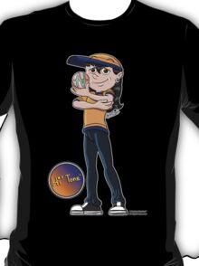 Hi' Tone holding the NatAnt Studios' NA Colophon T-Shirt