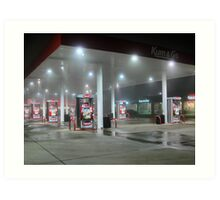 Foggy Night At The Gas Station Art Print