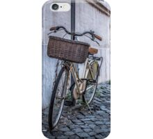 Bike with basket on streets of Rome iPhone Case/Skin