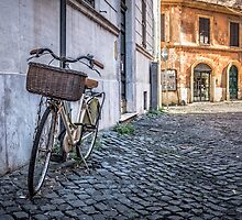 Bike with basket on streets of Rome by Edward Fielding