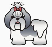 Blue And White Shih Tzu Cartoon Dog Kids Clothes