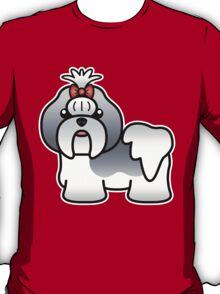 Blue And White Shih Tzu Cartoon Dog T-Shirt