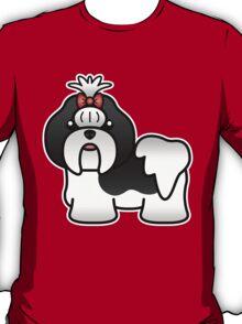 Black And White Shih Tzu Cartoon Dog T-Shirt