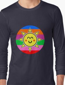 Hello Sunshine / Rainbow Background Long Sleeve T-Shirt