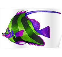 odd green fish painting Poster