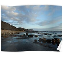 Chilly Charmouth Scene, Dorset Poster