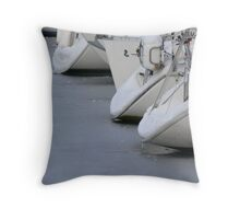 Chichester Marina, Frozen. Throw Pillow