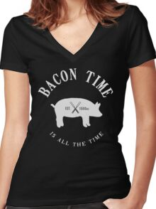 Bacon Time [White] Women's Fitted V-Neck T-Shirt
