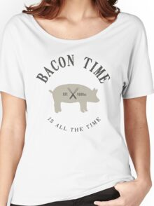 Bacon Time [Black] Women's Relaxed Fit T-Shirt